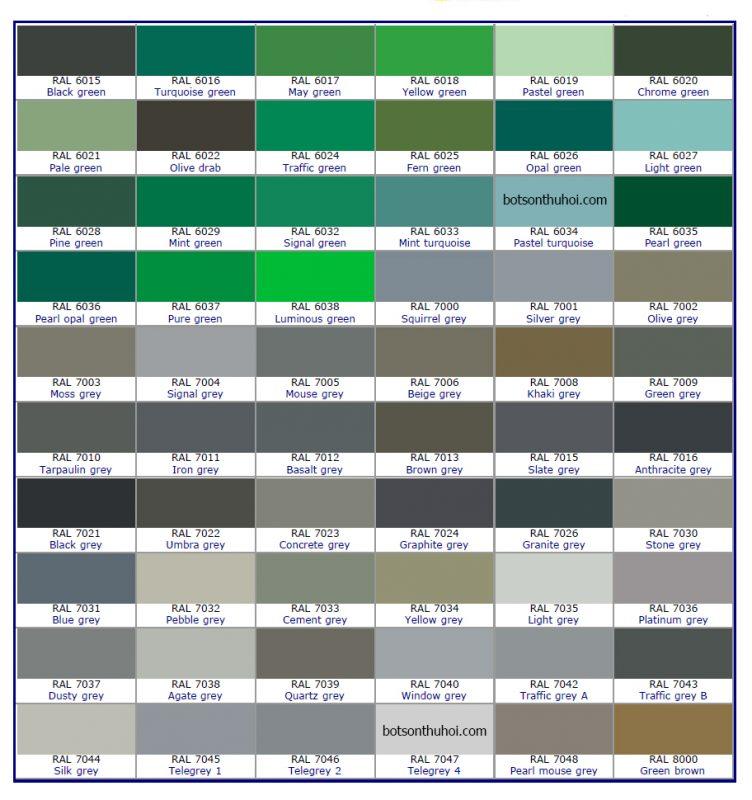 Bảng mã màu bột sơn Jotun chuẩn